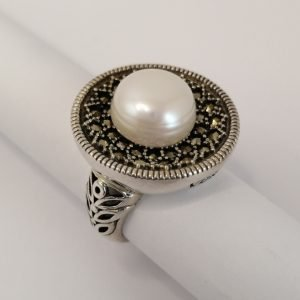 Silver Rings - 12.5mm White Freshwater Pearl with Marcasite Rim