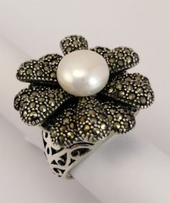 Silver Rings - 10mm White Freshwater Pearl with Marcasite Flower