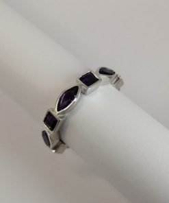 Silver Rings - 6.5x3mm Marquise and 3mm Square Amethyst Half Eternity