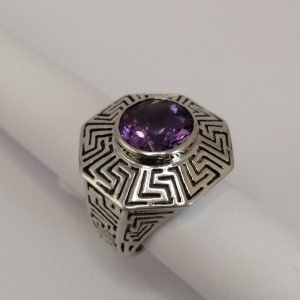 Silver Rings - 11mm Amethyst with Patterned Octagon