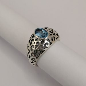 Silver Rings - 7x5mm Oval Blue Topaz with Filigree