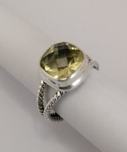 Silver Rings - 10mm Checkerboard Cushion Cut Lemon Quartz with Twisted Bands