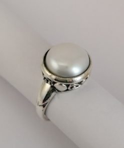 Silver Rings - 12.5mm White Freshwater Pearl with Filigree Detail