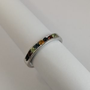 Silver Rings - 2.5mm Multi Coloured Channel Set