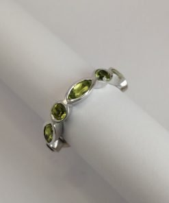 Silver Rings - 6.5x3mm Marquise and 3mm Round Peridot Half Eternity