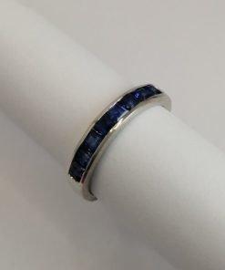 Silver Ring - 3mm Square Sapphire Half Eternity