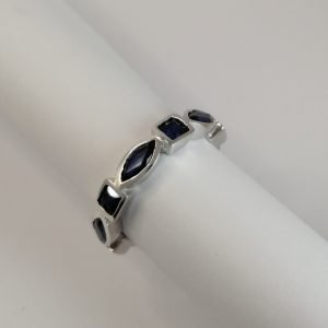 Silver Rings - 6.5x3mm Marquise and 3mm Square Sapphire Half Eternity