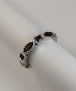 Silver Rings - 6.5x3mm Marquise and 3mm Square Garnet Half Eternity