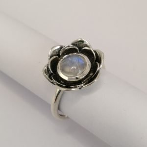 Silver Rings - 8mm Cabochon Moonstone with Flower