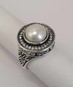Silver Rings - 10mm White Freshwater Pearl with Cubic Zirconia Rim