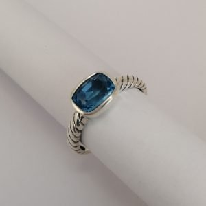 Silver Rings - 8x6.5mm Rectangular Blue Topaz with Twisted Band
