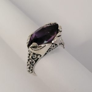 Silver Rings - 15.5x8mm Marquise Amethyst with Spiral Detail