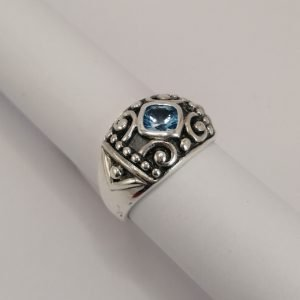Silver Rings - 5mm Cushion Cut Blue Topaz with Filigree Detail