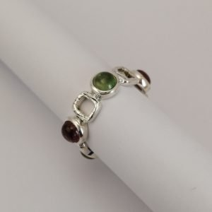 Silver Rings - 5mm Multi Colour Tourmaline and Wire Square Full Eternity