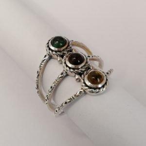 Silver Rings - 4mm Multi Colour Tourmaline