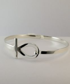 Silver Bangles - 4mm Flat with Ankh Clasp