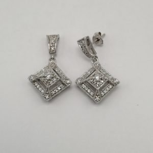 Silver Drop Earrings - 27mm Cubic Zirconia Square