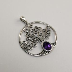 Silver Pendants - 34mm Tree of Life with Oval Amethyst