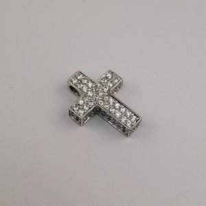 Silver Pendants - 23mm Pave Set Cubic Zirconia Cross