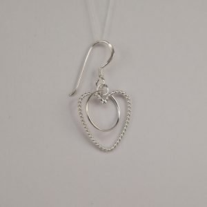 Silver Drop Earrings - 15mm Wire Heart and Circle