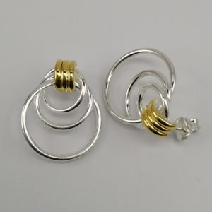 Silver Drop Earrings - 24mm Gold Plated Tube Circular