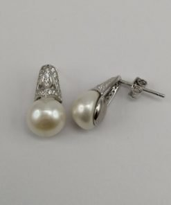 Silver Stud Earrings - Freshwater Pearl with Cubic Zirconia Detail