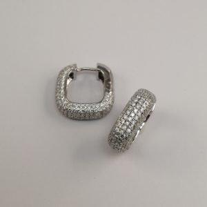 Silver Hoop Earring - 18mm Square Cubic Zirconia Encrusted