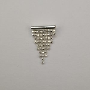 Silver Stud Earrings - 13.5mm Tube with Dangling Ball Chain Triangle