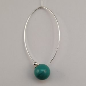 Silver Drop Earrings - 10mm Turquoise Ball with Marquise Hook