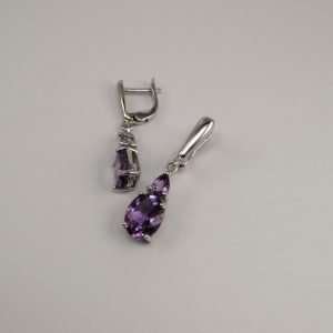 Silver Drop Earrings - 10x8mm Amethyst with Hinged Clip