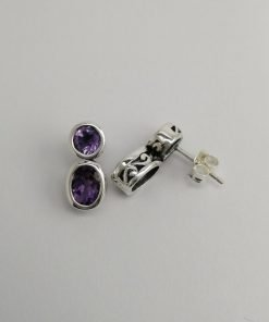 Silver Stud Earrings - Double Tube Set Amethyst with Cut Out Detail