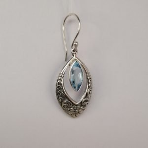 Silver Drop Earrings - 12x6mm Marquise Blue Topaz with Detail