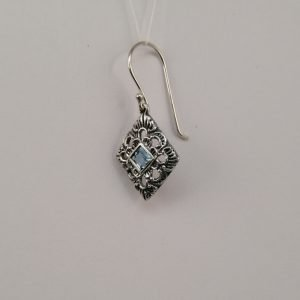 Silver Drop Earrings - 4mm Square Blue Topaz with Detail