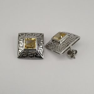 Silver Stud Earrings - 18mm Square Cut Out with Citrine