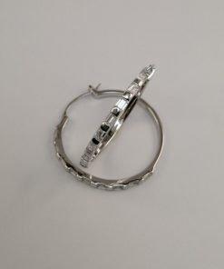 Silver Hoop Earrings - 31mm Baguette Cubic Zirconia