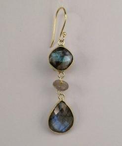 Silver Drop Earrings - 61mm Gold Plated Labradorite