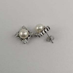 Silver Stud Earrings - 11.5mm Square with Freshwater Pearl and Cubic Zirconia