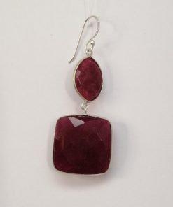 Silver Drop Earrings - 55mm Checkerboard Ruby