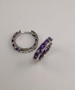 Silver Hoop Earrings - 21mm Hinged Amethyst