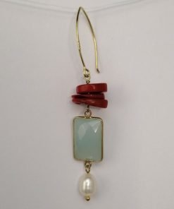 Silver Drop Earrings - Chalcedony, Coral and Freshwater Pearl