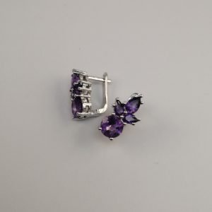 Silver Stud Earrings - 12mm Topaz with Hinged Clip