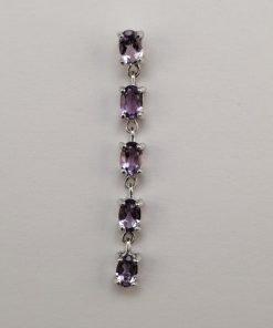 Silver Drop Earrings - 6x4mm Claw Set Amethyst Row