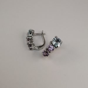 Silver Stud Earrings - 17mm Blue Topaz and Amethyst with Hinged Clip