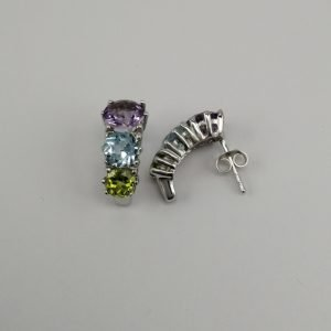 Silver Stud Earrings - 18mm Multi-Colour Claw Set Curve