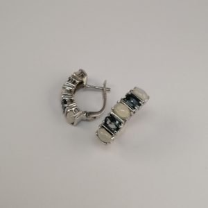 Silver Stud Earrings - 22.5mm Claw Set Blue Topaz and Opal with Hinged Clip