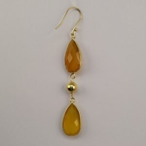 Silver Drop Earrings - 67mm Checkerboard Cut Gold Plated Citrine