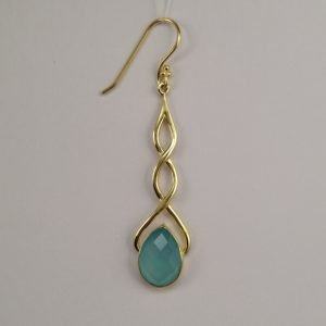 Silver Drop Earrings - 63mm Gold Plated Chalcedony