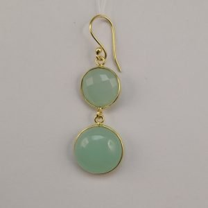 Silver Drop Earrings - 51mm Gold Plated Chalcedony