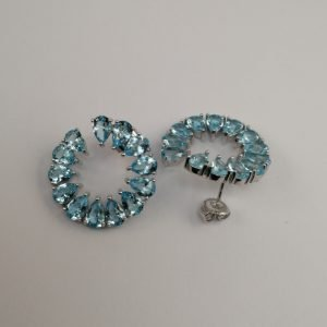 Silver Drop Earrings - 25mm Pear Shaped Cubic Zirconia Circle