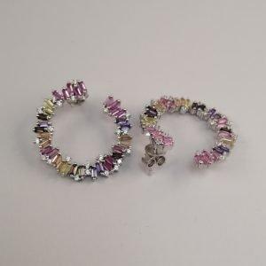 Silver Drop Earrings - 28mm Multi-coloured Cubic Zirconia Circle